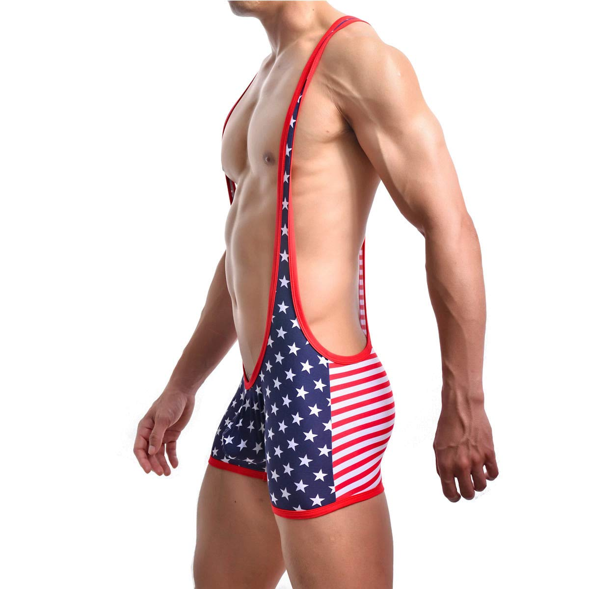 FidgetGear Sports Mens Wrestling Singlet Bodysuit American Flag Leotard Muscle Jumpsuit New M by FidgetGear