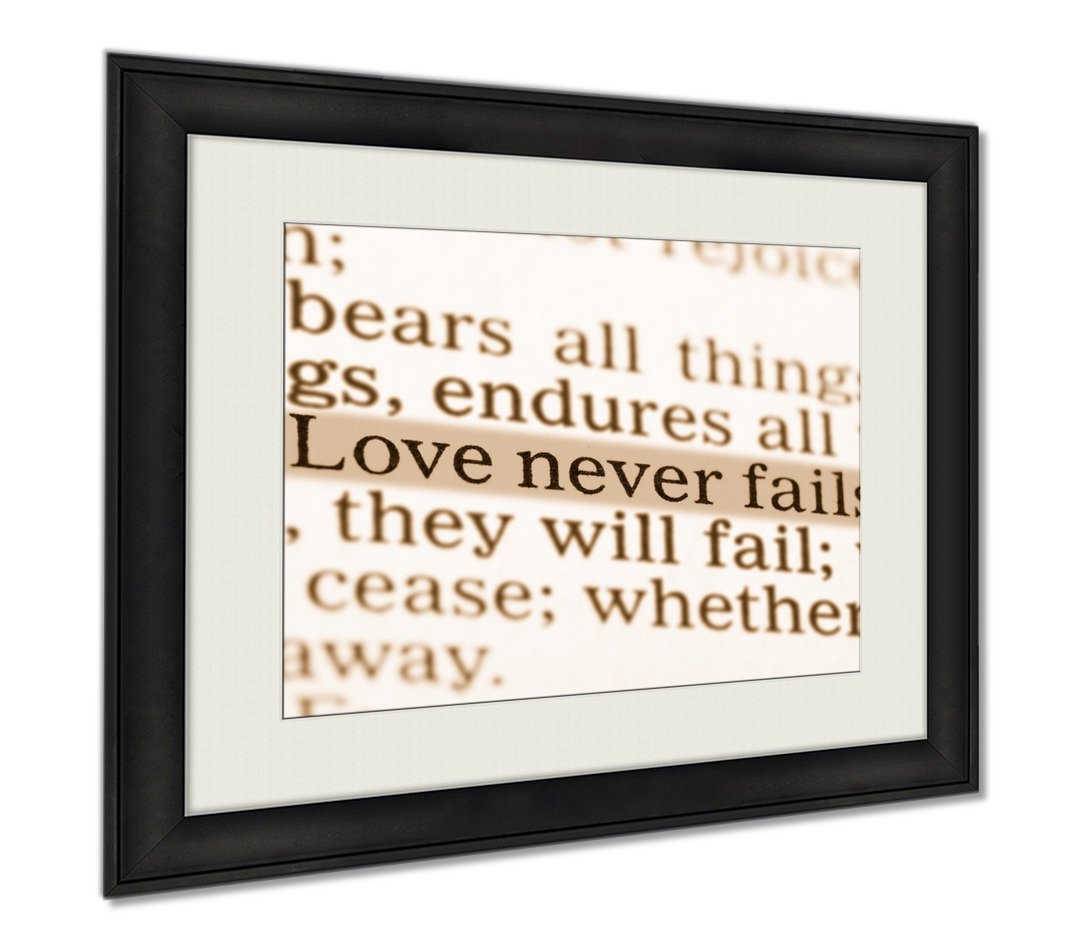 Ashley Framed Prints Love Never Fails Corinthians 13 Holy Bible, Wall Art Home Decoration, Sepia, 34x40 (frame size), AG5500753