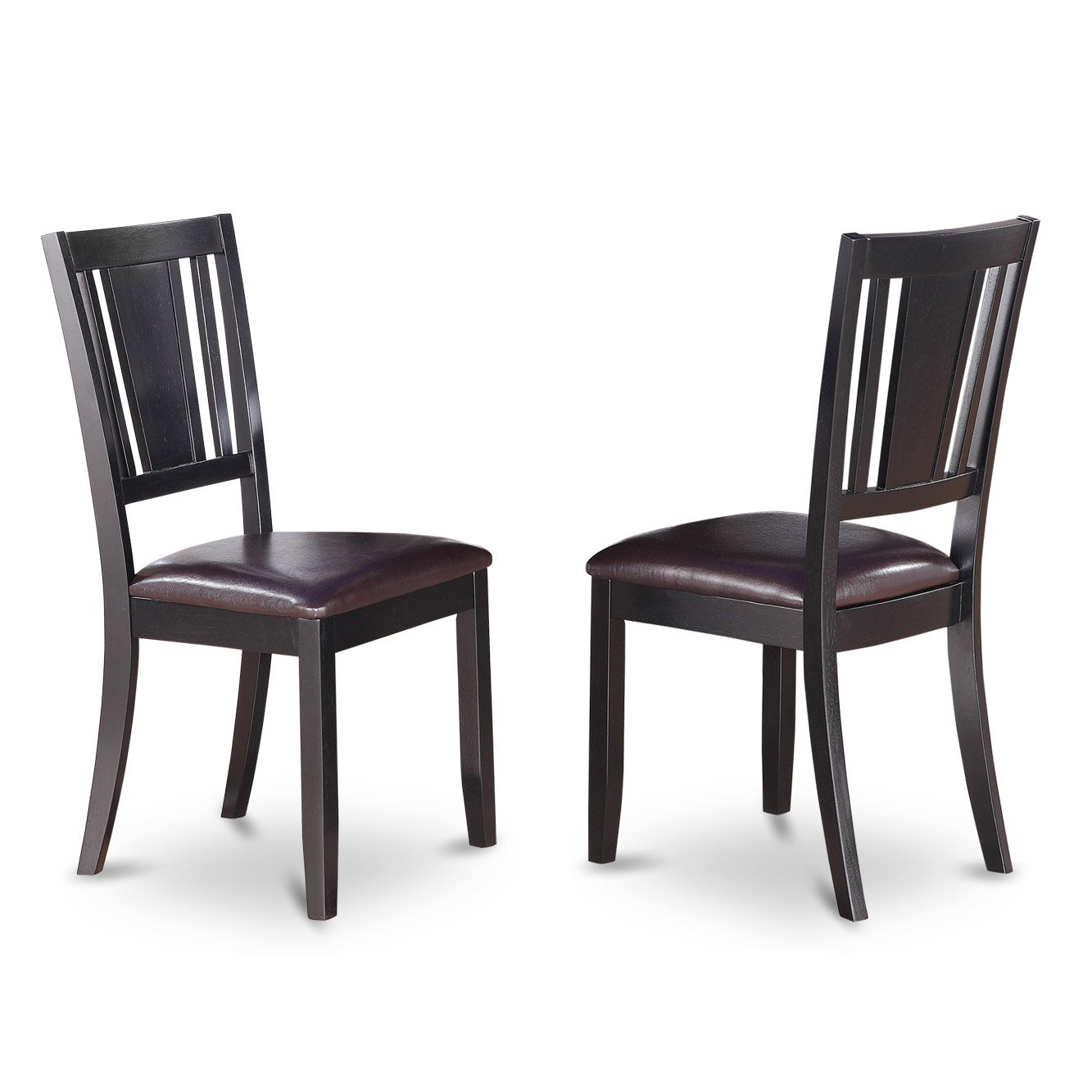 Dudley Dining Chair with Faux Leather upholstered Seat in Black Finish
