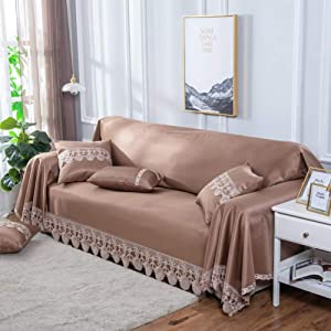 HM&DX Summer Sofa Cover Slipcover Lace Cool Viscose Solid Color Wipeable Couch Covers Furniture Protector Armchair Loveseat Sectional -Coffee 200x350cm(79x138inch)