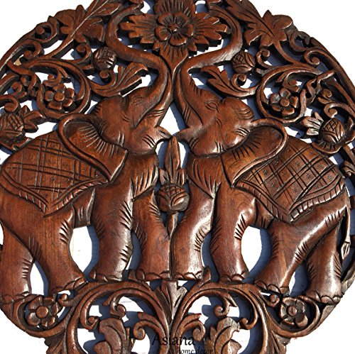 Lucky elephants love sign wood carved wall art round
