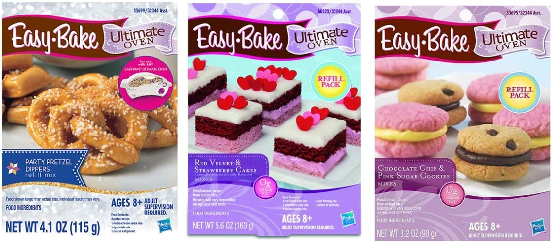 InterC Set of 3 Easy-Bake Oven Mix Refills one Each: Party Pretzel Dippers, Red Velvet and Strawberry Cakes, Chocolate Chip and Sugar Cookies