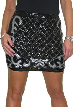 Sequin Sparkle All Over Stretch Mini Skirt Black NEW 6-14