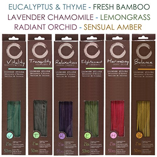 Hosley 300 Pack Assorted Highly Fragranced Incense Sticks with Bonus Holder - Eucalyptus & Thyme , Fresh Bamboo , Lavender Chamomile , Lemongrass , Radiant Orchid , Sensual (Bamboo Wood Candle Favors)