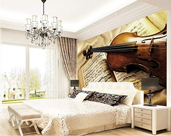 Weaeo 3D Photo Wallpaper Violin Retro European Bedroom Living Room ...