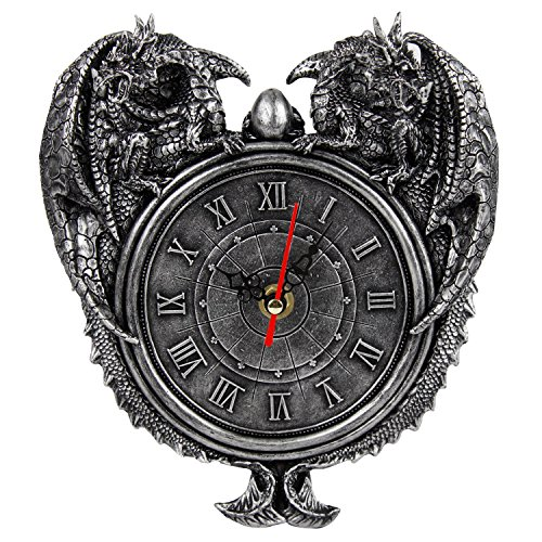Pewter Dragon Finish - Pacific Giftware Dragon Twins Sentinel Double Dragons Guarding Orb Wall Clock Metallic Pewter Finish 9 Inch Tall