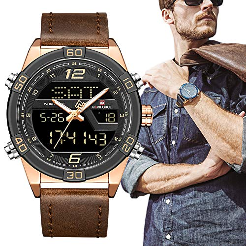 - Digital Watches for Men Waterproof Leather Band Sport Watch with Alarm Military Dual Time Wristwatch