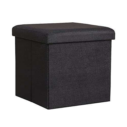 InSassy Folding Storage Ottoman Bench Foot Rest Toy Box Hope Chest Linen-Like Fabric – Small – Black