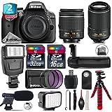 Holiday Saving Bundle for D3300 DSLR Camera + 55-200mm VR II Lens + AF-P 18-55mm + Battery Grip + Shotgun Microphone + LED Kit + 2yr Extended Warranty + 32GB Class 10 Memory - International Version