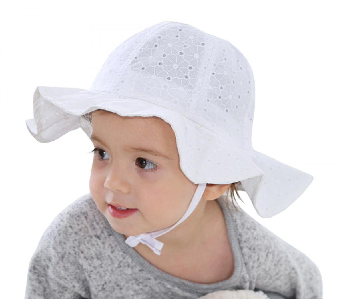 Amazon.com  WODISON Baby Toddler Girls Sun Hat Summer Protection Cap with  Adjustable Chin Strap White for Kids Christmas Gift Idea  Baby 17f4057acfd