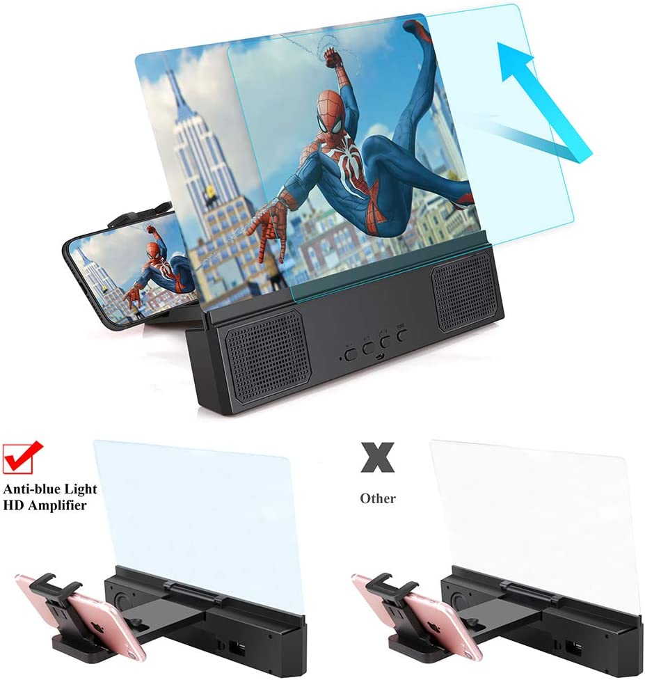 3D HD Phone Magnifier Projector Amplifier Screen Enlarger for Movies Videos Gaming with Foldable Stand Compatible with iPhone 11 pro All Smartphone 12 Phone Screen Magnifier with Bluetooth Speaker