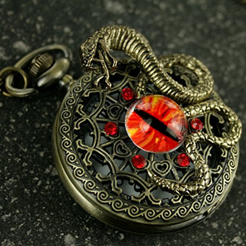 - Steampunk Antique Pocket Watch Necklace Victorian Pendant Charm Glass RED Fire Dragon Eye with Snake