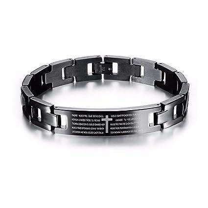 Mens Magnetic Bracelet Man Cross Bracelet Cross Bible Black