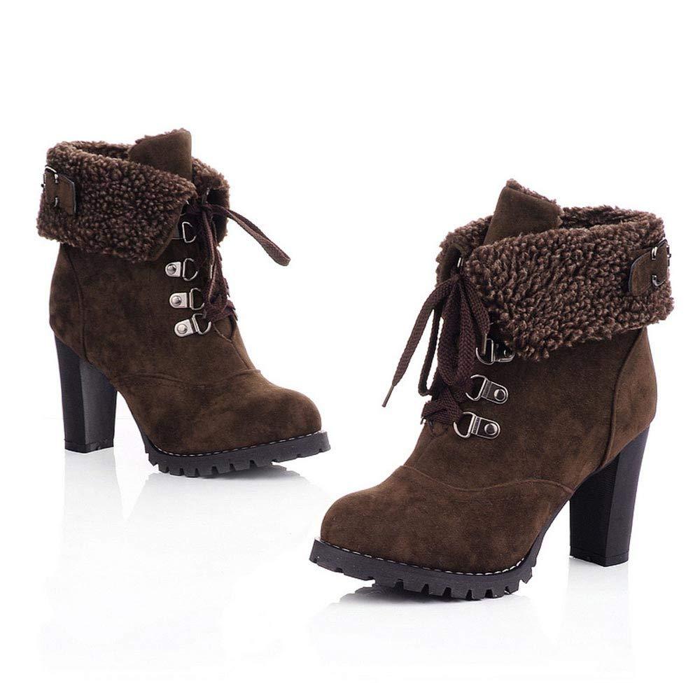 ▷Vovotrade◁ Inverno Punta Spessa con Stivali da Donna in Pizzo Stivaletti da Donna Scarpe da Donna Casual Risvolto Caviglia Stivali con i Tacchi Alti