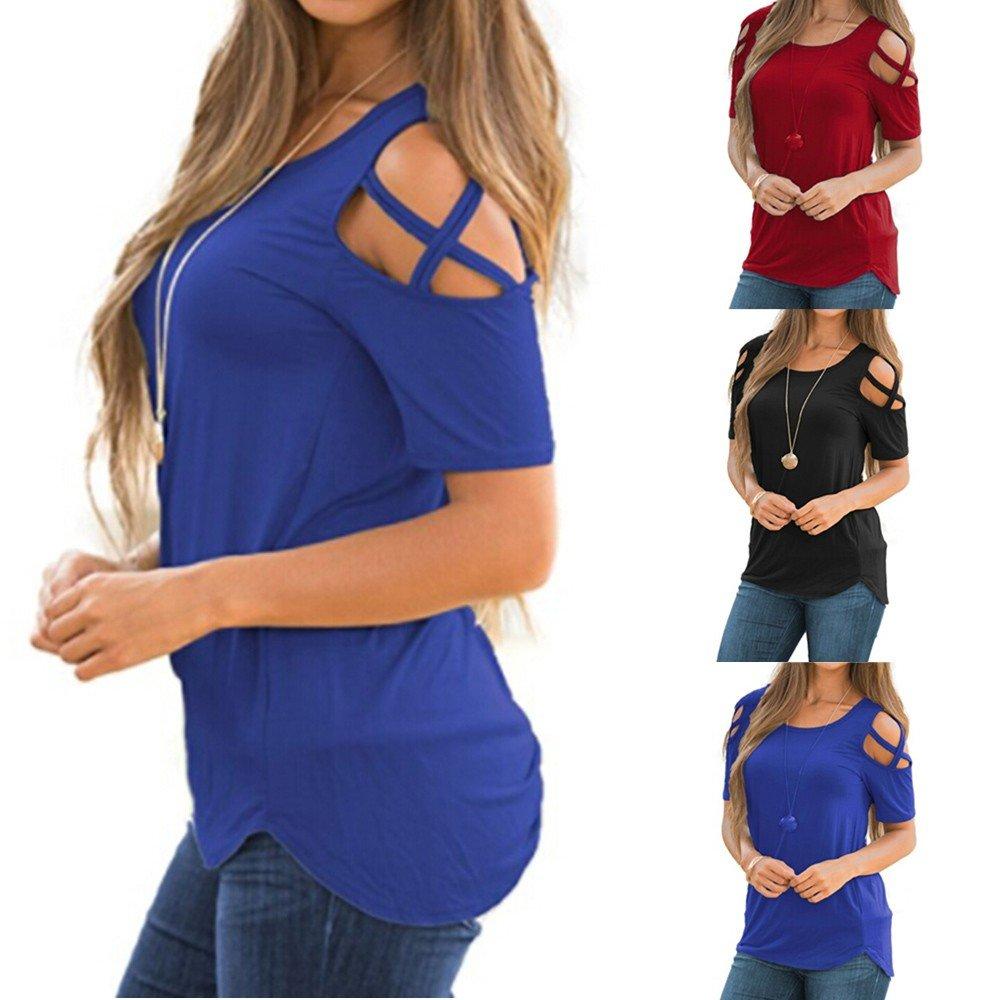 ZODOF Camiseta Blusa de Manga Larga con Cuello Redondo para Mujer Blusas de Fiesta Camisetas Mujer Originales Tops T-Shirt: Amazon.es: Ropa y accesorios