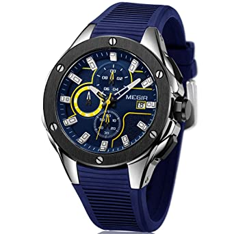 Megir Mens Chronograph Quartz Watches Mens Analogue Military Luminous Blue Dial Wrist Quartz Watch with Stylish
