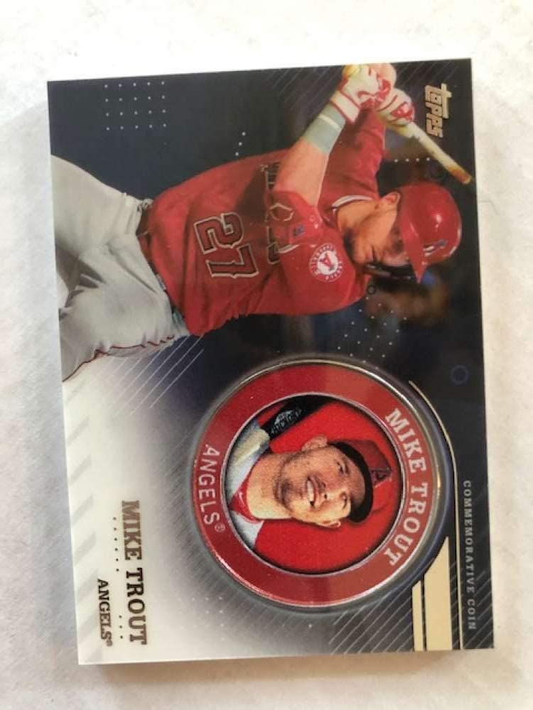 2020 Topps Series 2 Baseball Player Medallion Coin #TPM-MT Mike Trout Los Angeles Angels Official Blaster Exclusive Trading Card