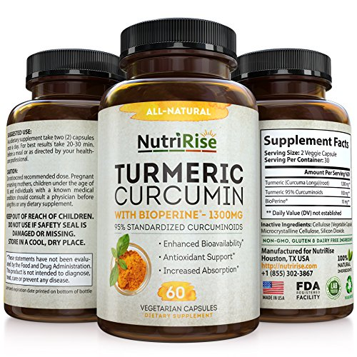Turmeric Curcumin With BioPerine – #1 Best Joint Supplement For Pain Relief & Joint Support, Vegan Turmeric Capsules with 100% Pure Turmeric Root (Curcuma) & Black Pepper, 60 Turmeric Pills