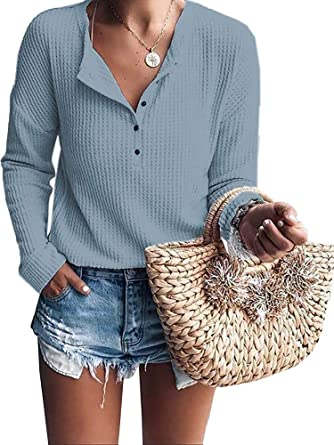 Yunni Womens Long Sleeve Tshirt V Neck Loose Fit Soft Waffle Knit Thermal Henley Tops