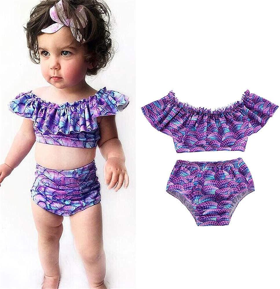 2Pcs Toddler Baby Girl Mermaid Swimsuit Summer Ruffle Fish Scale Beachwear Swimming Bikini Tankini Bathing Suit