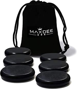 Hot Stones - Maxdee 6Pcs Medium Massage Stone Set, Hot Massage Stones Heated Warmer Rocks for Professional or Home Spa, Relaxing, Healing, Pain Relief, 2.4