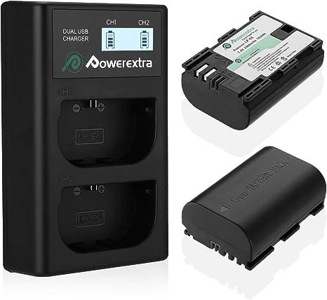 Image ofPowerextra Batería de Repuesto para Canon LP-E6 y LP-E6N con Cargador Pantalla LCD USB para Canon EOS 80D 6D 7D 70D 60D 5D Mark III 5D Mark II BG-E14 BG-E11 BG-E9 BG-E7 LC-E6 BG-E6