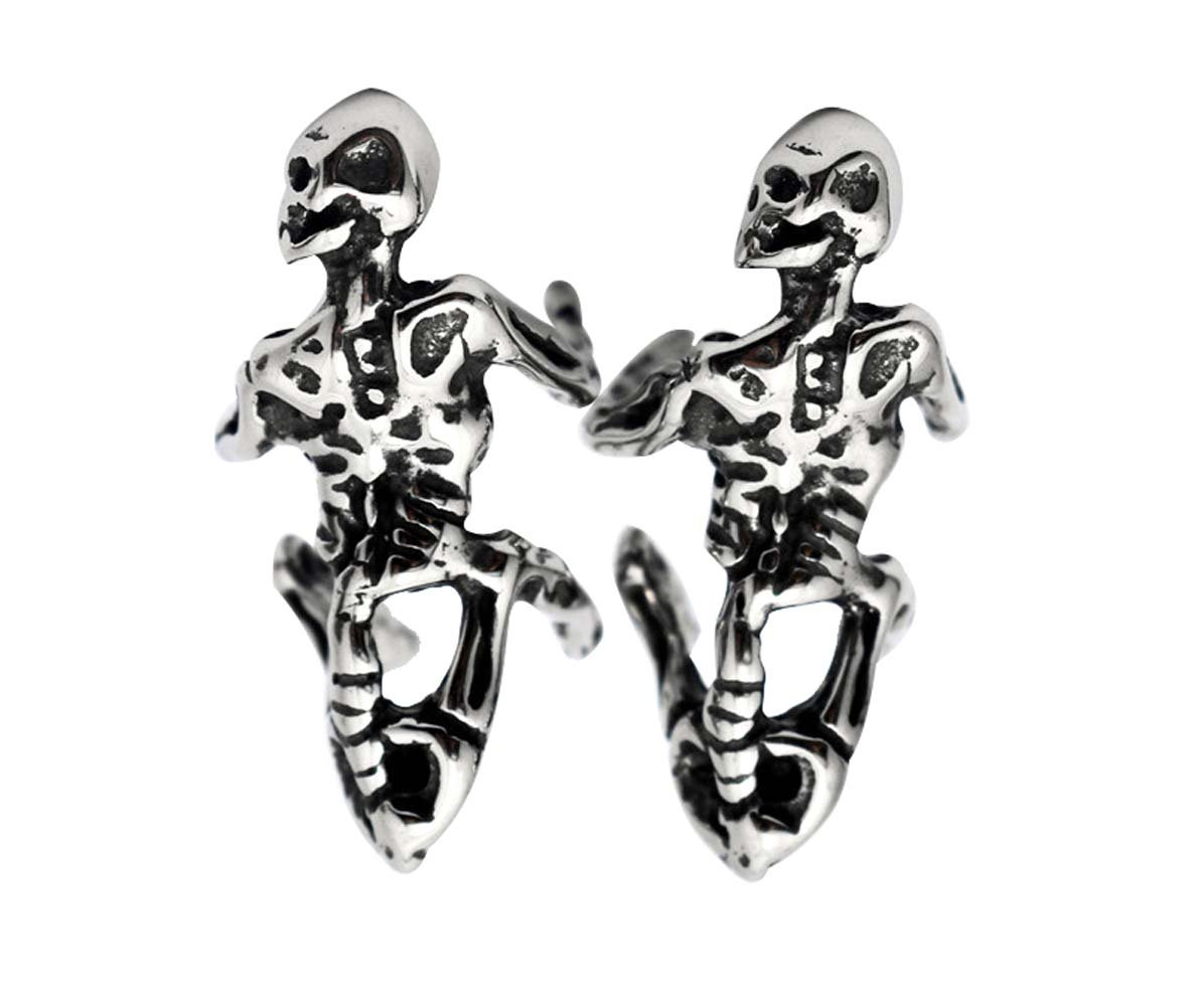 Titanium Steel Skull Skeleton Ear Cuffs, Unisex Punk Gothic Halloween Costume Non-pierced Ear Cuffs Earrings