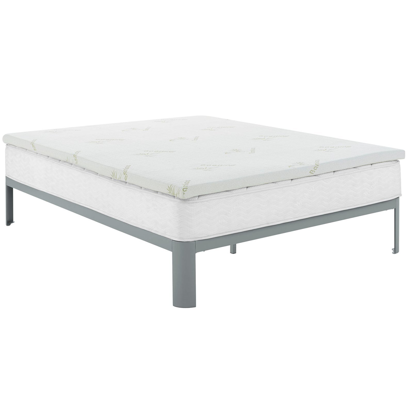 Modern Contemporary Urban Design Bedroom Full Size 2inch Memory Foam Mattress, White, Fabric