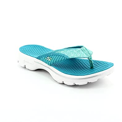 look out for sports shoes online here Skechers 14250 Pizazz GO Walk Turquoise Womens Sandals ...