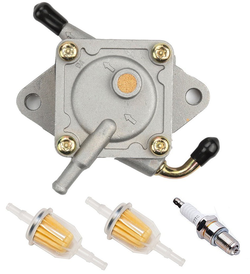Podoy Club Car Fuel Pump for Gas Golf Cart Tune Up Kit with Fuel Filter Spark Plug DS Precedent from 1984 to Present 290FE 350FE Kawasaki Engine 1014523