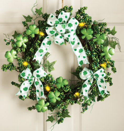 LED Lighted Green Irish Shamrock Floral Wreath Bow Leaves Clover Decor Wall Door Hanging St. Patrick's Day Decoration