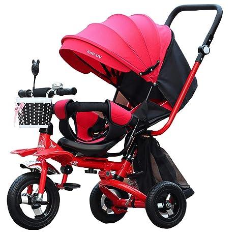 GHDE& Bebé Plegable Triciclo, con Asiento Giratorio, Dosel del Sol ...
