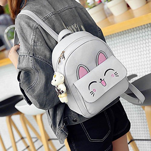 Domybest - Bolso mochila  para mujer Black with Double Zips Grey with Rabbit Ear