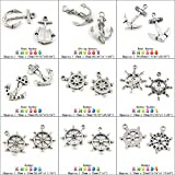 10 PCS Charme Findings Supplies Pendant Bracelet Retro DIY Supply Fermoir Antique Ancient Silver Tone Jewelry Making Charms KN0586 Boat Anchor