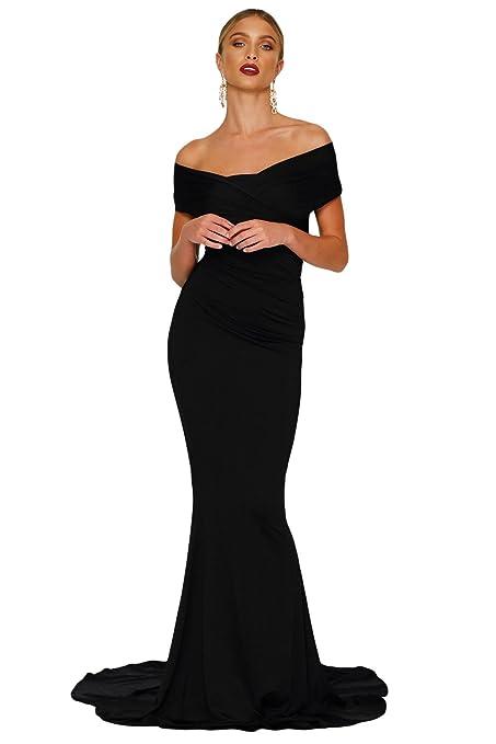 Elegante señoras largas negro Off hombro noche cóctel fiesta Prom Vestido Fiesta Danza Club wear tamaño