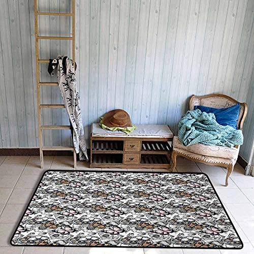 Door Rug for Internal Anti-Slip Rug Butterfly Cute Monarch Butterflies on Hand Drawn Flowers Nostalgic Retro Style Pattern Hard and wear Resistant W67 xL79 Multicolor