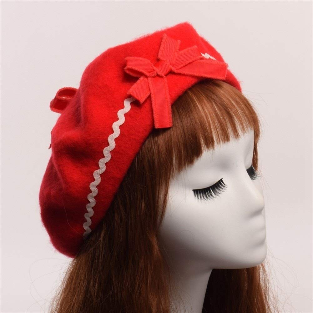 Handmade Raised Grain Female Women Girls Bowknot Painter Hat Beanie (Color : Red, Hat Size : One Size) by ERNANGUA