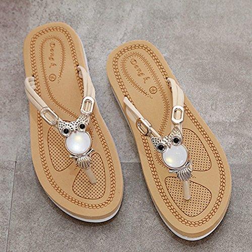 Tiras De Decoración Zapatillas Búho Fascigirl Chanclas Colgante Sandalias Verano Moda Las Beige Mujeres L SUxfa