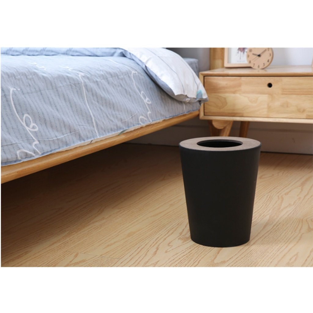 Trash Can Round, 9liter/2.5gallon Garbage Can With Wood grain Lid, Wastebasket Toilet Trash Bin Garbage Container Bin For Bathrooms, Kitchens, Living Room (Color : Black) by Trash Can (Image #5)
