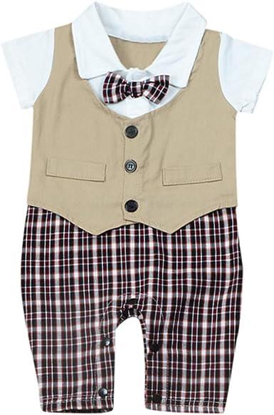 Divertido Pijama, K-Youth Caballero Chaleco Pajarita Mameluco Bebe Niño Verano Ropa Bebe Recien Nacido Niño Body Bebe Pelele Infantil Unisex Mono para Niños Bautizo Bodies Bebés: Amazon.es: Ropa y accesorios