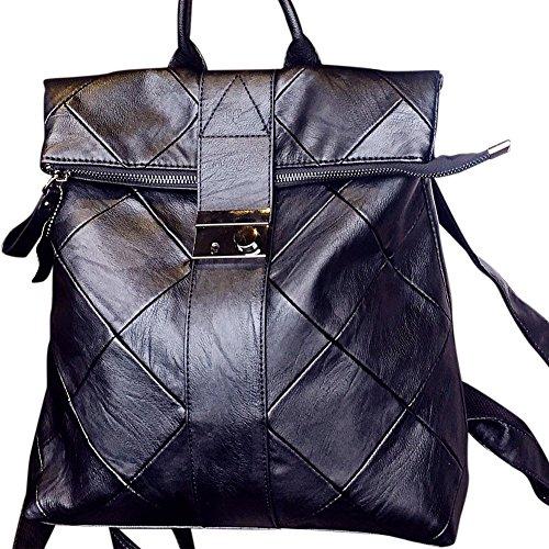 Yiwa , Damen Rucksackhandtasche Schwarz schwarz