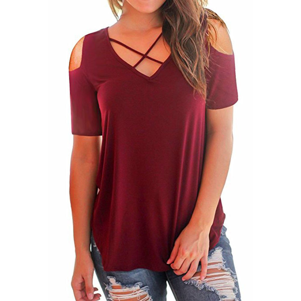 Sunmoot Clearance Sale Cold Shoulder T-Shirt for Womens Sexy Off Shoulder Summer Casual Short Sleeve Criss Cross Front V-Neck Tops Tunic Blouse for Work