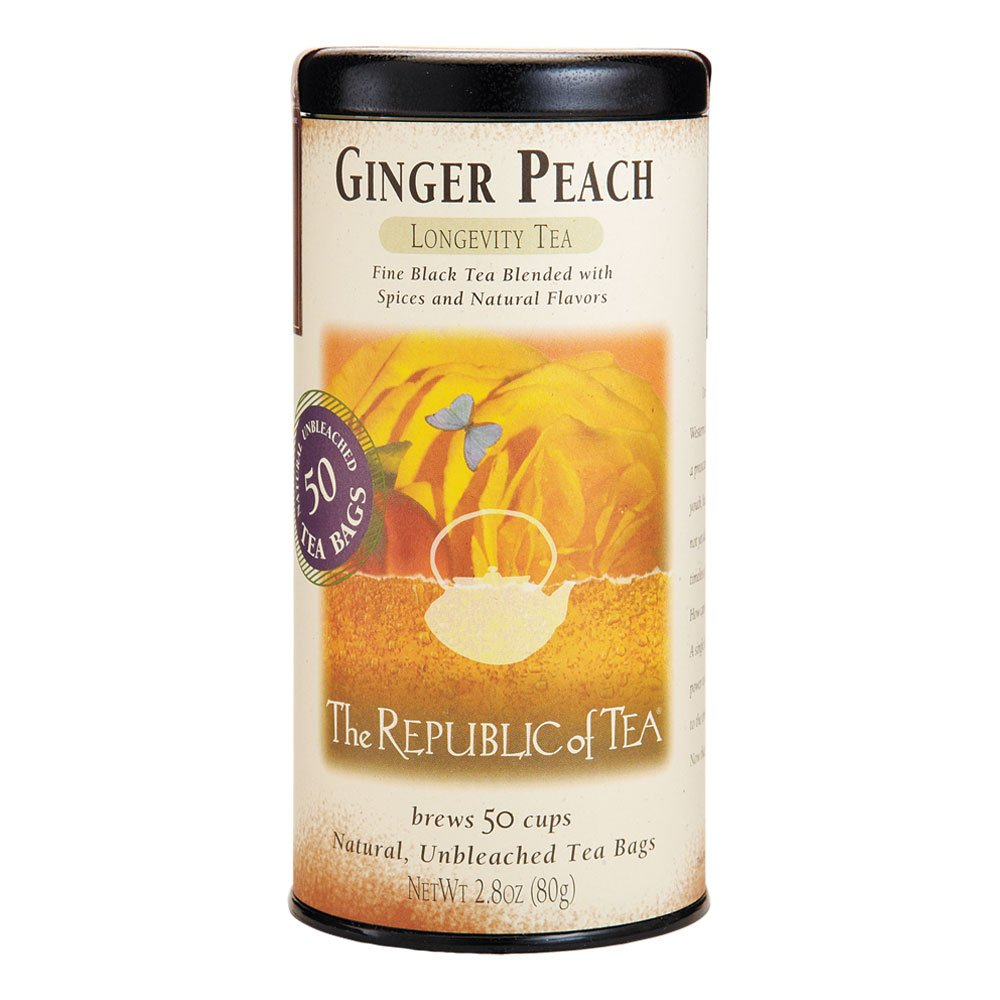 The Republic of Tea, Ginger Peach Black Tea, Caffeinated, 50 Tea Bags
