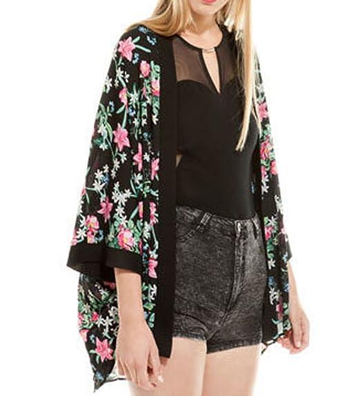 SUNNOW con impresión de colibríes y diseño de patrón de tela para mujer diseño Vintage de flores gasa mujer chaqueta Kimono Tops camisas perchero blusa ...