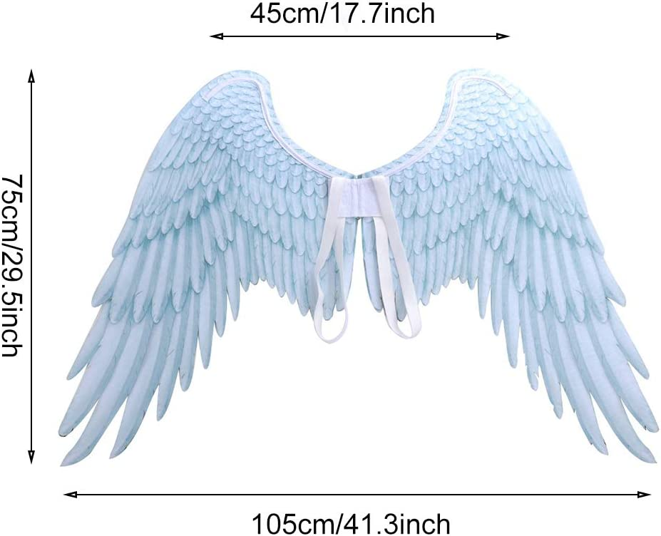 Adult Kids Feather Angel Wings Costume Wand Halo Halloween Party Fancy Dress