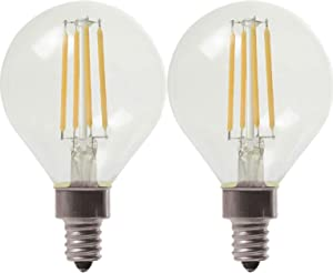 GE Lighting 24535 Clear Finish Light Bulb Dimmable LED Daylight Decorative G16.5 Globe 4 (40-Watt Replacement), 350-Lumen Candelabra Base, 2-Pack, Soft White, 2 Piece