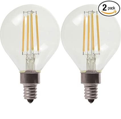 Ge Lighting 24547 Clear Finish Light Bulb Dimmable Led Daylight Decorative G16 5 Globe 5 5 60 Watt Replacement 500 Lumen Candelabra Base 2 Pack