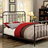 Iria Contemporary Vintage Style Dark Bronze King Size Bed