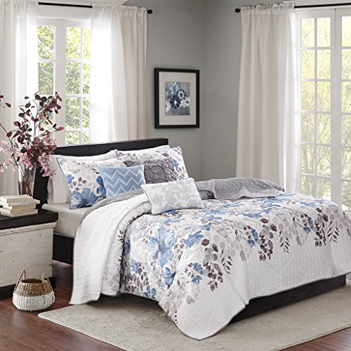 Madison Park Luna King/Cal King Size Quilt Bedding Set - Blue, Plum, Floral, Leaf - 6 Piece Bedding Quilt Coverlets - Ultra Soft Microfiber with Cotton Filling Bed Quilts Quilted Coverlet