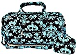 Quilted Duffel Cotton Carry On Bag with Cosmetic Bag - 22'' Shoulder Bag 7'' Make up Black & Teal